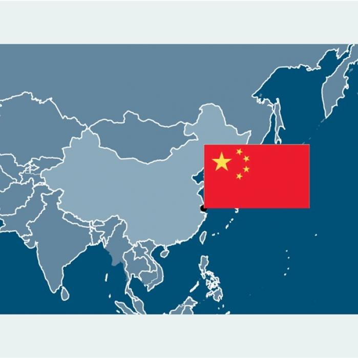 Map of china with china's flag