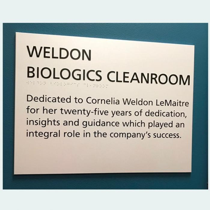 Wall sign showing Weldon Cleanroom