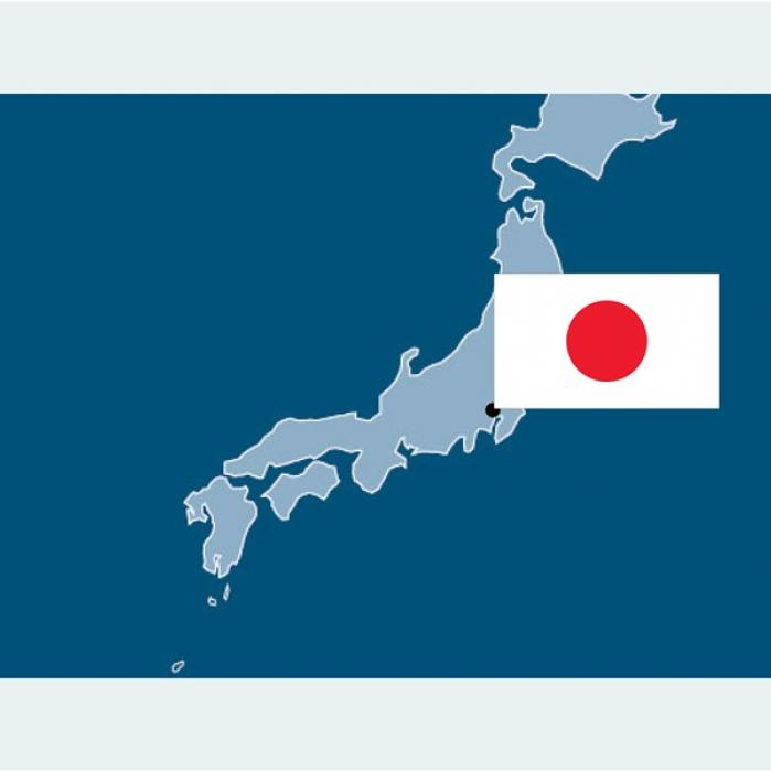 Map of Japan with Japanese Flag